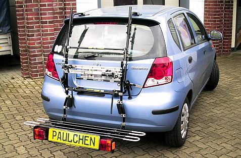Daewoo Kalos Bike carrier with comfort load extension in loading position. Without trailer hitch!