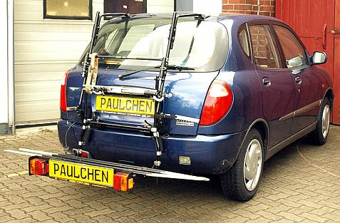 Daihatsu Sirion (M100) Bike carrier with comfort load extension in loading position. Without trailer hitch!