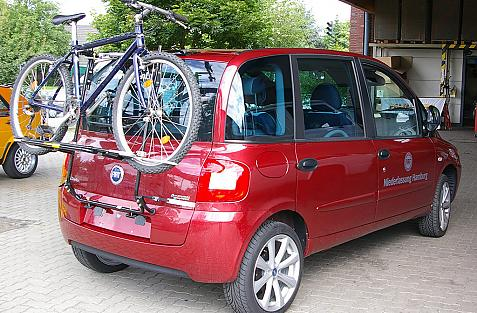 Fiat Multipla Bike carrier loaded with bike